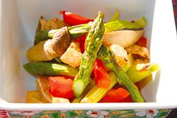 焼き野菜と油揚げのポン酢あえ