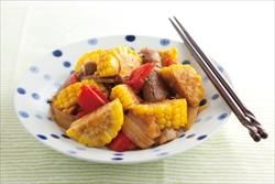 トウモロコシと牛肉のピリ辛煮